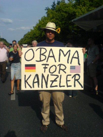 Ob das die deutschen Politiker erfreut? - Obama-Fan in Berlin
