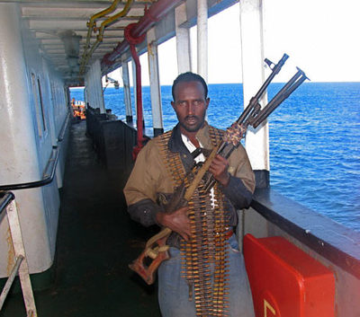 Heavy-armed Somali pirate.
