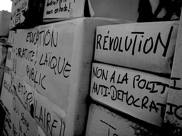Mit großen Protestaktionen begegnen die französischen Studierenden - wie hier in Lyon - den Mängeln ders Bildungssystems.