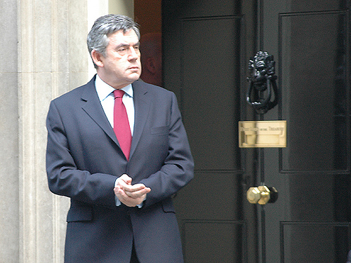 The Prime Minister, outside the front door of Number 10