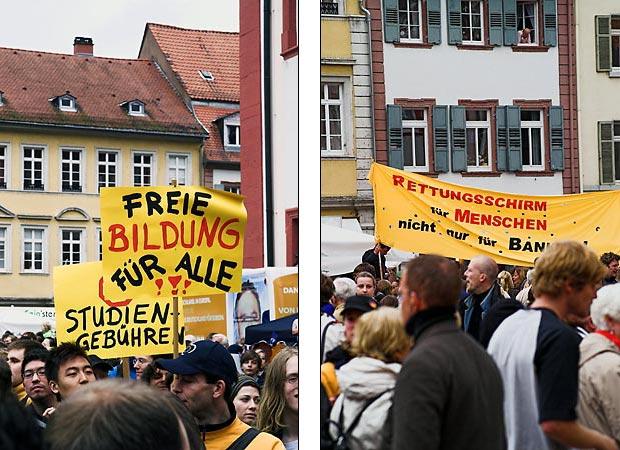 Im Publikum wird das Lob der Bildung allerdings von vielen als Hohn angesehen, lokale Probleme liefern Stoff für lautstarken Protest.