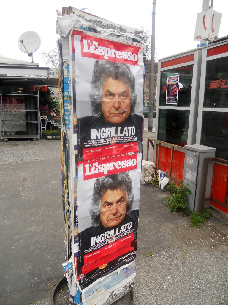 Beppe Grillo auf dem Cover des Magazins L'Espresso.