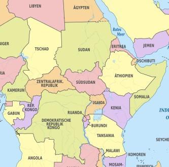 In Zentral- und Ostafrika finden sich zahlreiche Konfliktherde.