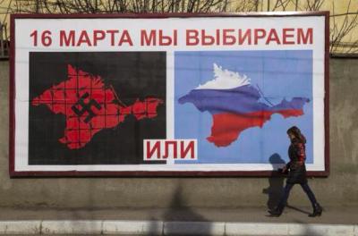 """""""Brutale Propaganda mit den schlimmsten Analogien"""": Plakat für das Referendum am 16. März."""