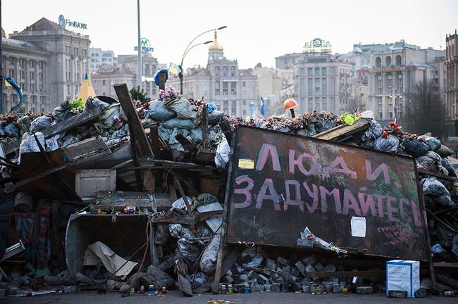 Die Deutschen nehmen ehemalige Sowjetstaaten wie die Ukraine nicht als unabhängige Akteure wahr, meint Boris xxx. Im Bild eine Barrikade auf dem Maidan-Platz in Kiev im Juni 2014.